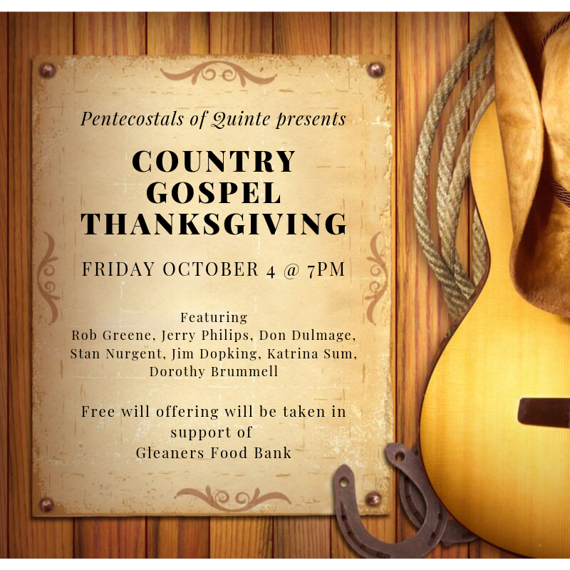 Have any plans Friday night? If not, now you do! The Pentecostal Church is having a Country Gospel Concert in support of Gleaners Food Bank! Free offerings will be received! Enjoy the music & atmosphere! #commUNITY #foodbankevents #pentecostalchurch #countrygospelpic.twitter.com/ZfSvqUIyaP