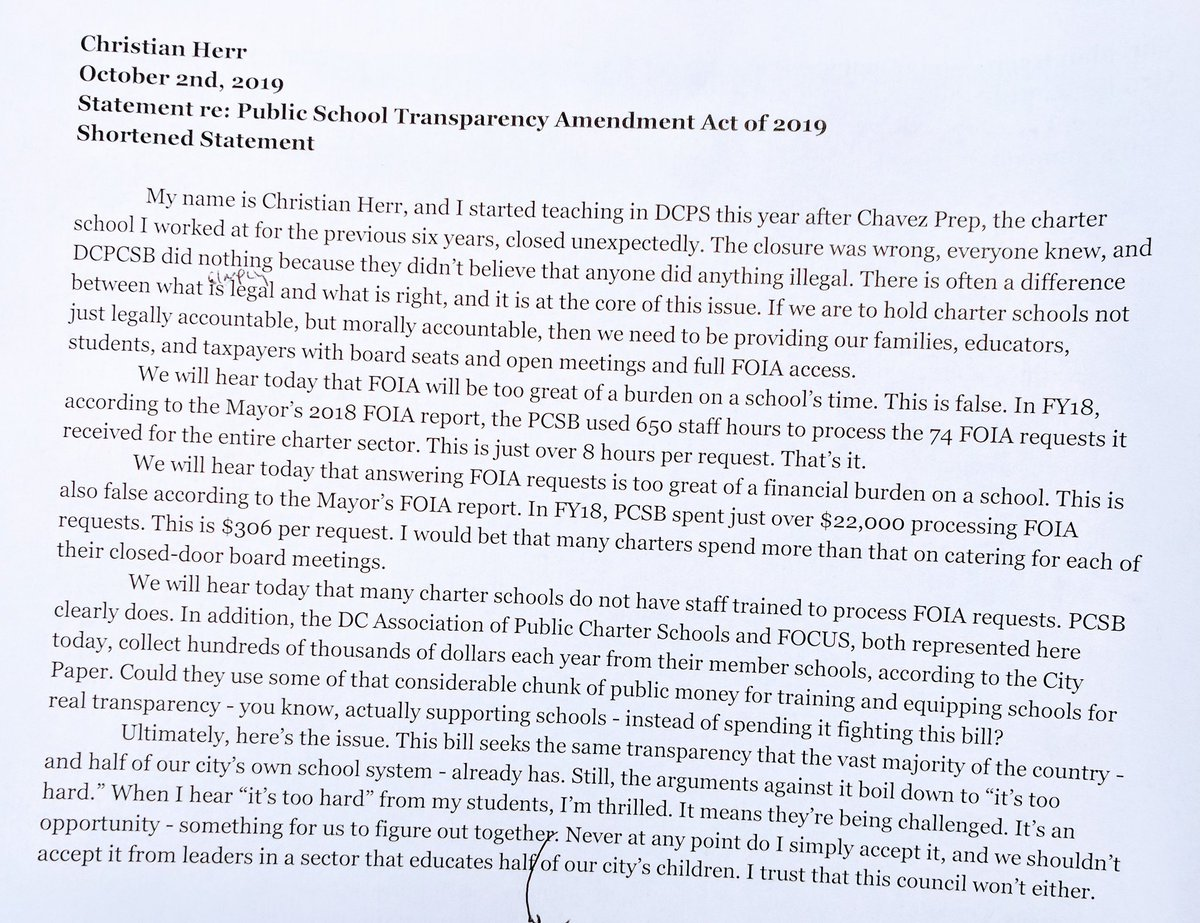 My statement from the #dcschooltransparency hearing today. #openthedoors