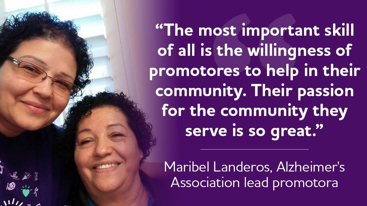 "Alzheimer's Association lead volunteer promotora, Maribel Landeros, shares how promotores perform ""inreach"" by educating their own communities about Alzheimer's & other dementias to break down barriers and encourage action. bit.ly/2nQ7RGo #ENDALZ #HispanicHeritageMonth"