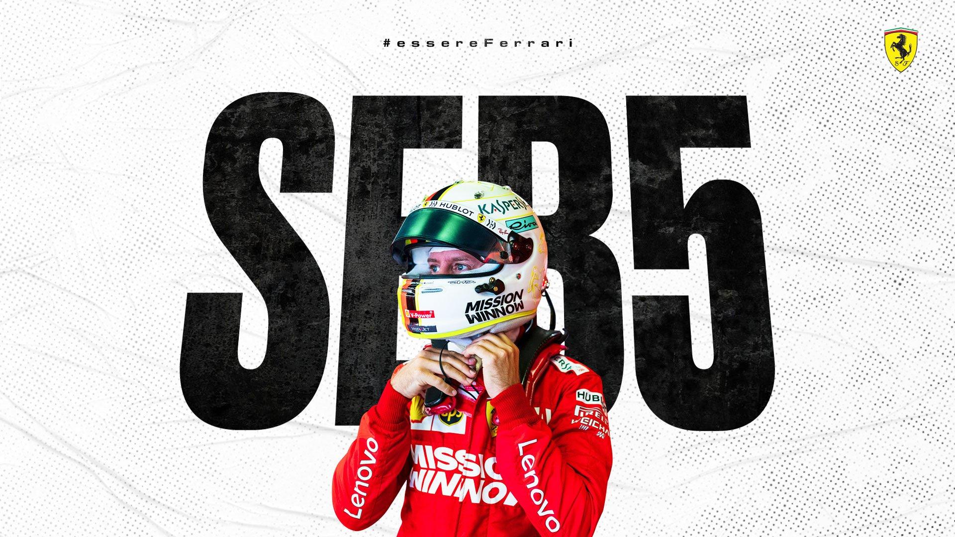 Imagen: Sebastian Vettel. Imagen vía: Twitter de la Scudería Ferrari