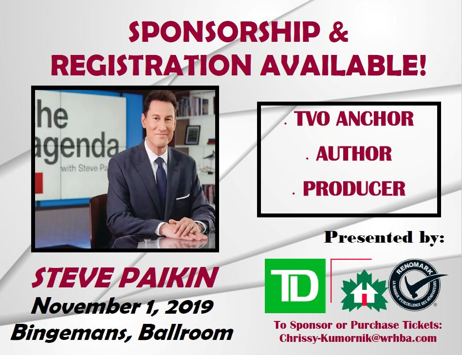 EARLY BIRD PRICING ENDS THIS FRIDAY!  Contact Chrissy at Chrissy-Kumornik@wrhba.com to purchase tickets to WRHBA's 29th Annual Industry Luncheon featuring Steve Paikin!  #waterloo #ontario #industryluncheon #stevepaikin #tvo #kwlocal #kwawesome #homebuilders #wrhba #sponsorshippic.twitter.com/vES5zdjuAE