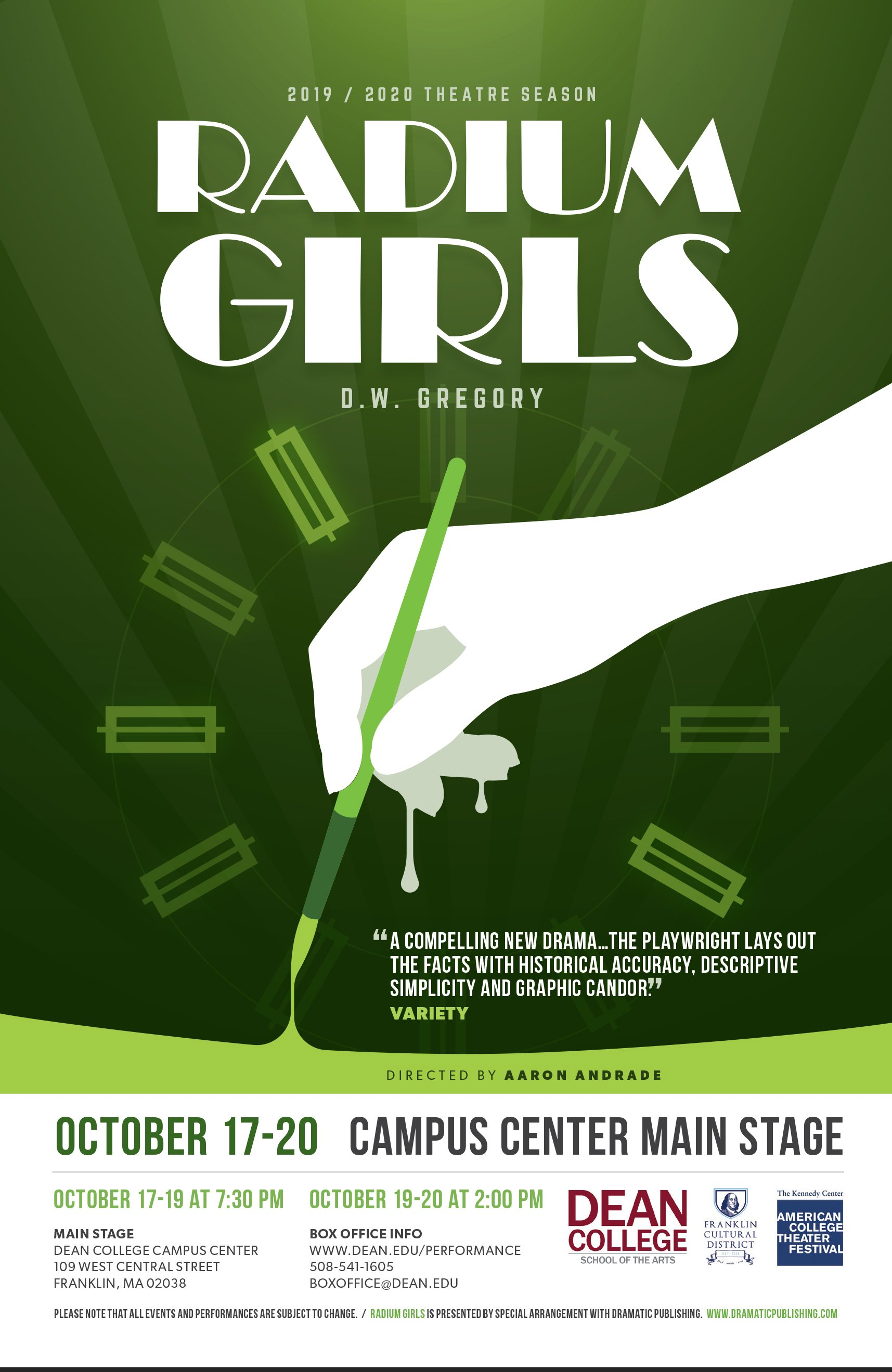 "Dean College presents ""Radium Girls"" - Oct 17-20"