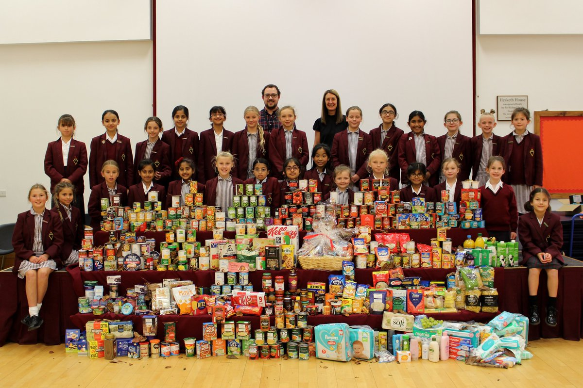 Harvest Celebration today at @BoltonJnrGirls. Thanks to all the families who gave generous donations for @UrbanOutreachUK!