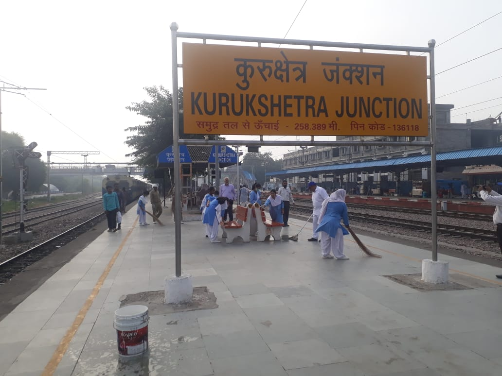 "DRMDELHI on Twitter: ""On the occasion of 150th Birth Anniversary of ""Father  of the Nation"" Mahatma Gandhi, Delhi Division, Northern Railway organised  Shramdaan at Kurukshetra railway station. @swachhbharat @PMOIndia  @RailMinIndia @GM_NRly @RailwayNorthern…"