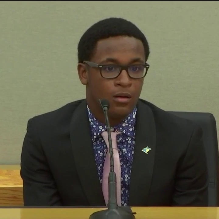 """BREAKING: In stunning moment, Botham Jean's brother embraces Amber Guyger after her sentencing for his brother's murder.   """"I don't even want you to go to jail. I want the best for you, because I know that's exactly what Botham would want."""""""