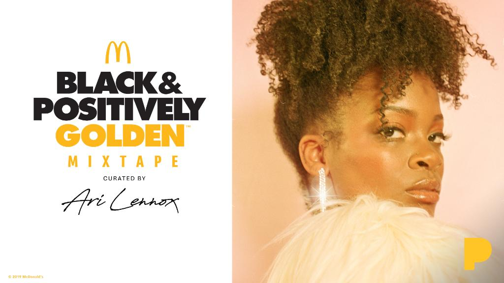 """""""I'm so flattered that women are inspired by watching me be myself."""" Listen to @McDonalds Black and Positively Golden mixtape curated by rising singer-songwriter @AriLennox now: pdora.co/2pjAs7h"""