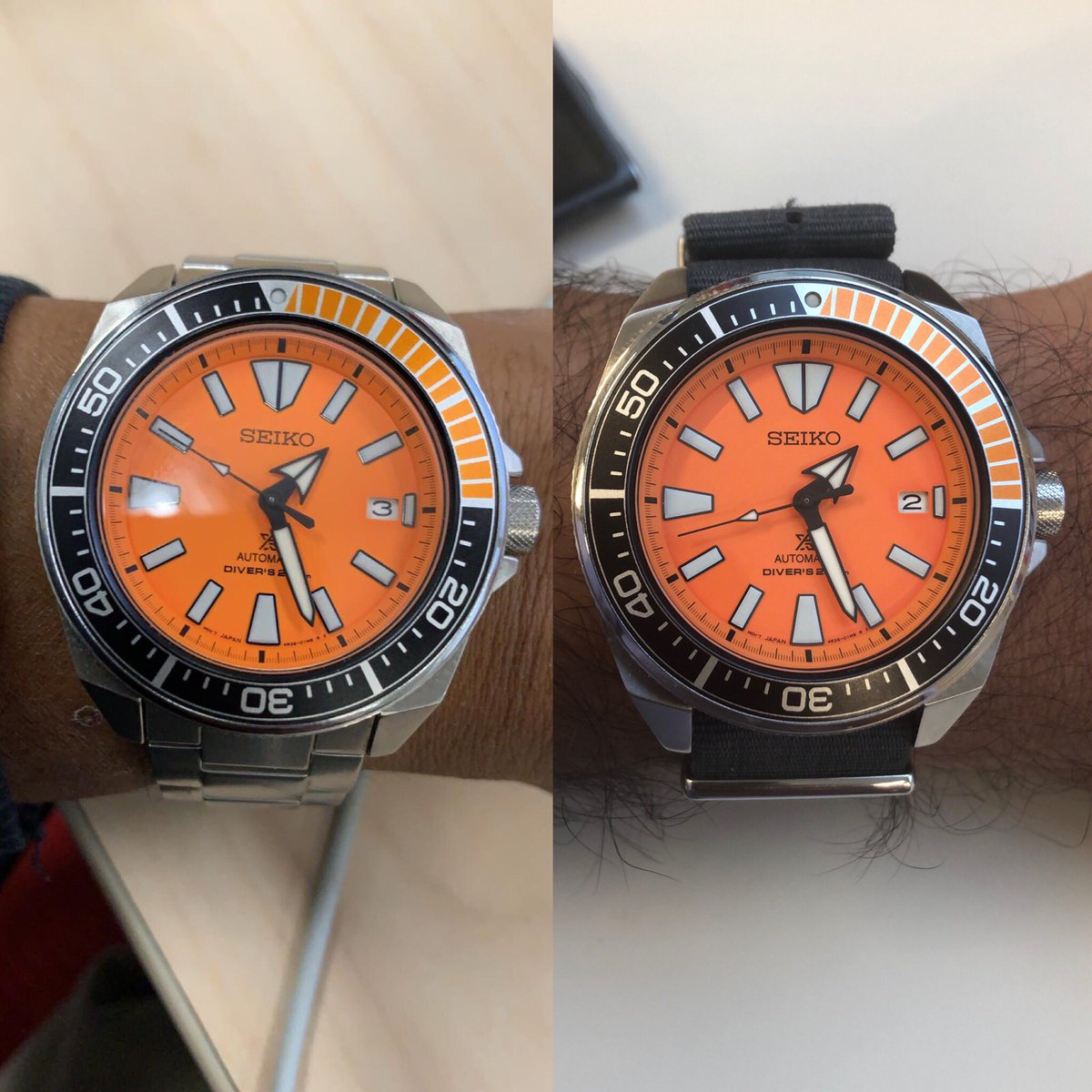 @sanjiv_l finally joins the Samurai clan... great to finally have the watch of the podcast on our wrists - even if it's a few hundred miles apart!  Check out his thoughts on the Seiko SPRC07 and other releases in Ep20  #Seiko #SeikoSamurai #SRPC07 #OrangeSamurai @seikowatches https://t.co/30oBtbxzsO