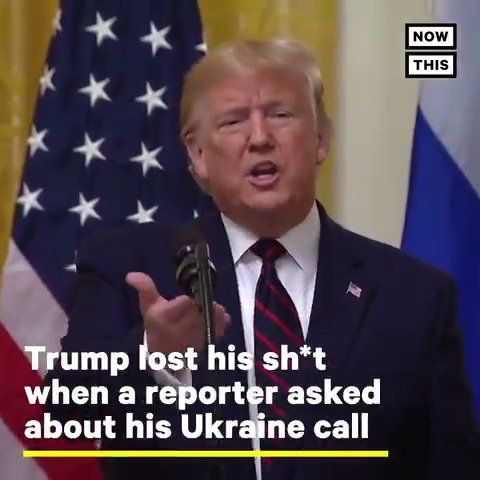DIRTBAG DONNIE absolutely lost it during today's press conference when a reporter asked about impeachment and Ukraine #TrumpMeltdown