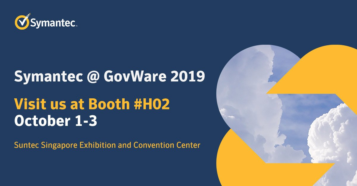 Day 3: It's our last day here at #GovWare2019. Come find us at Booth H02 and learn more about how Integrated Cyber Defense can help your organisation to drive down the cost and complexity of cyber security.  #SICW2019 #SymantecAtGovWare2019 https://t.co/UMuCNcRvQs