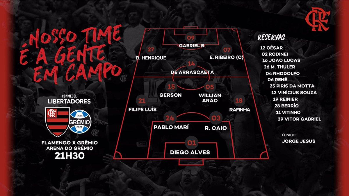Nosso Time é a Gente em Campo! O Mengão está escalado para enfrentar o Grêmio na semifinal da  @LibertadoresBR! Vamos, Flamengo! #GRExFLA #JogaremosJuntos #CRF