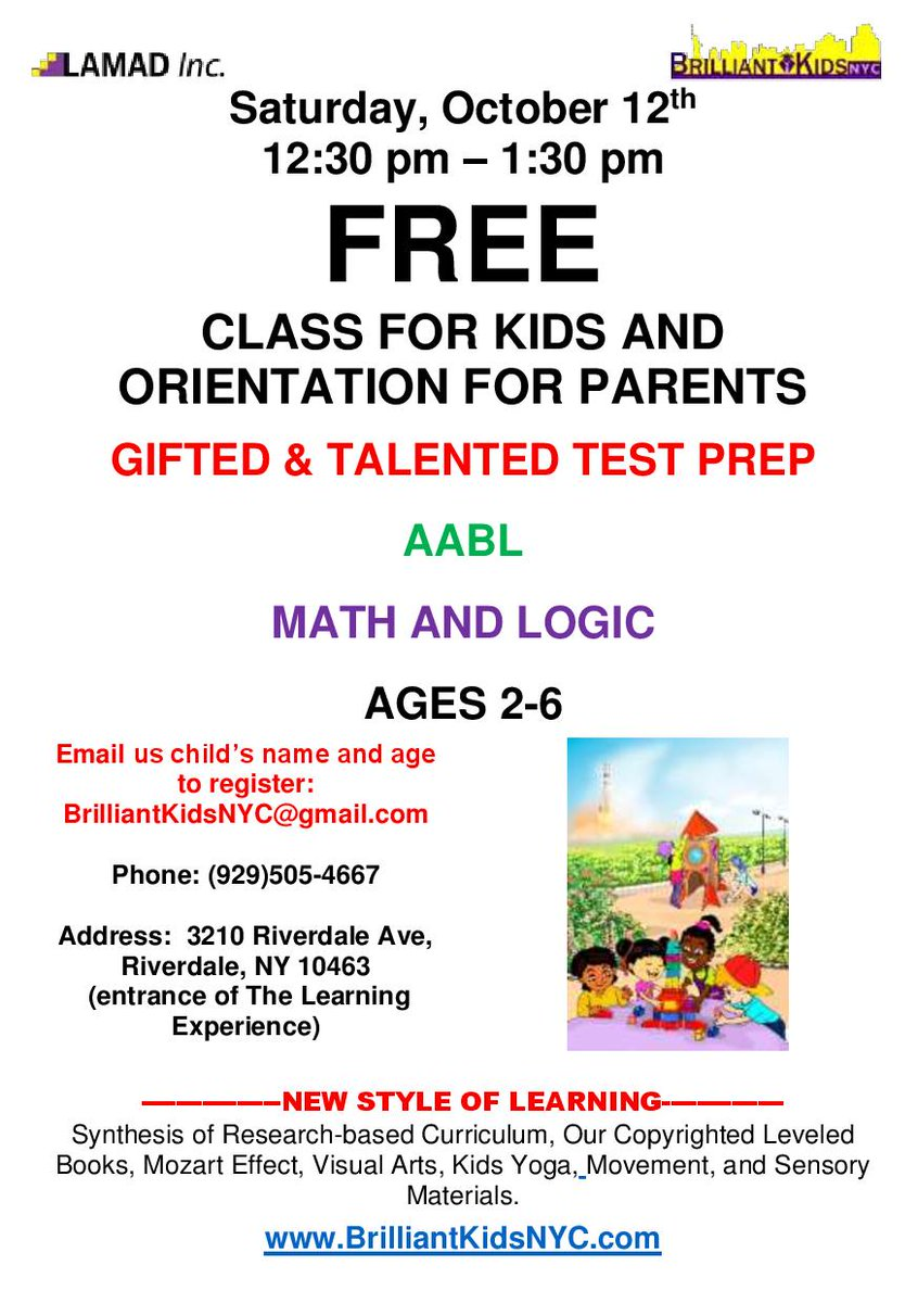 Free class for kids, abundance of fun. Free info for parents. Come and ask any questions. #giftedandtalentedtest, #mathforkids, #mathforchildren, #freeclasses, #freeevents, #aabl https://t.co/aLtwQZZjew