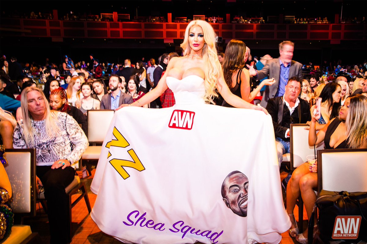 The one and only @Nicolette_Shea rocking her dress like only she can at the #AVNAwards