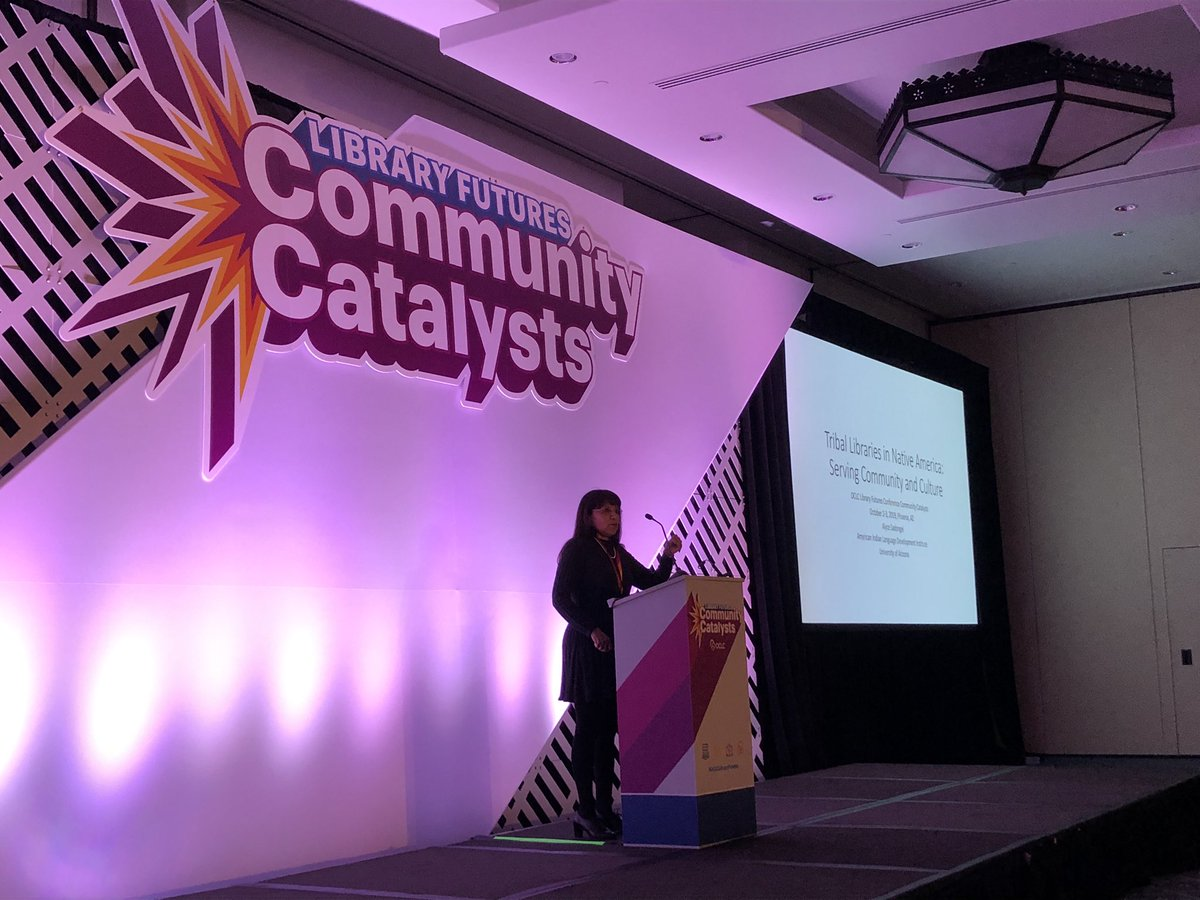 Alyce Sadongei speaking about #triballibraries serving community and culture at #OCLCLibraryFutures #communitycatalysts #librariestransform