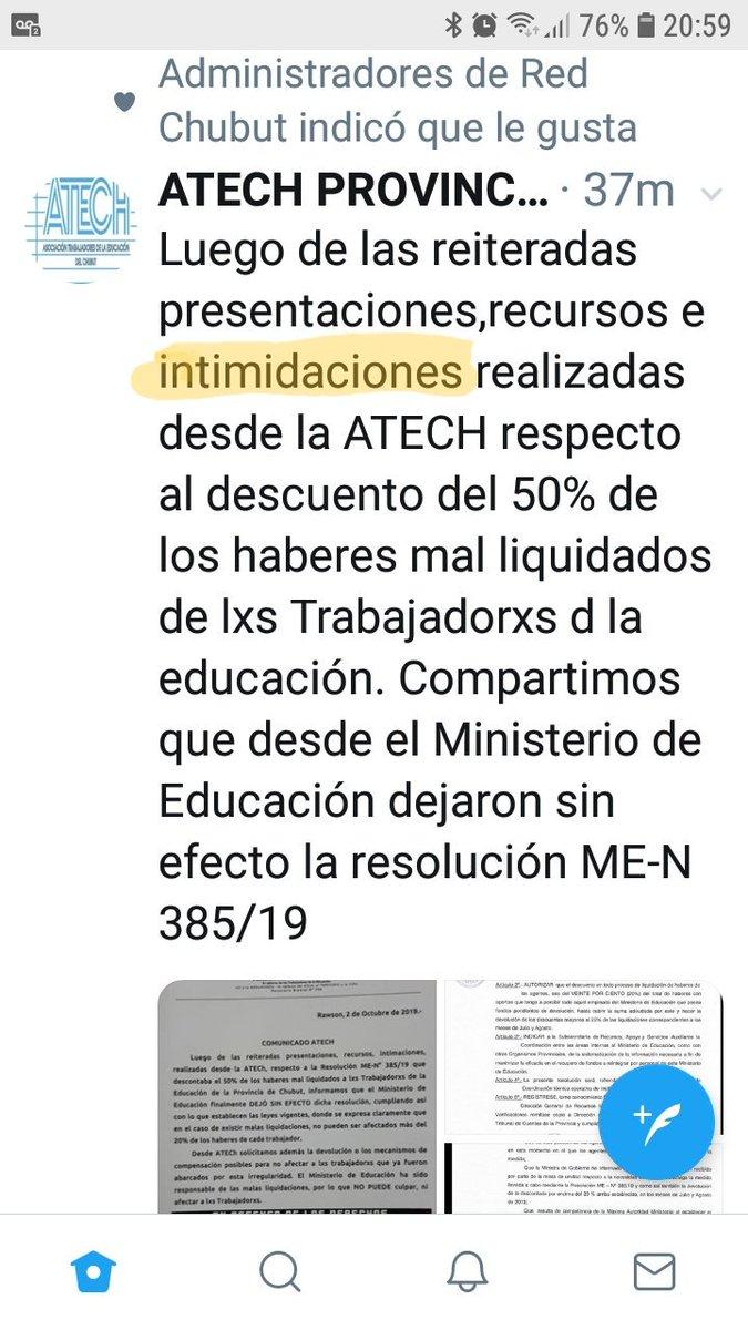ATECH reconoce las intimidaciones (sincericidio) pero no mientan no hay ninguna ley q permita defraudar al estado y devolver en cuotas del 20% del sueldo. Es + existen dictámenes que sugieren devolución del 100%. X otra parte ATECH debería devolver los M$ recibidos x esas liq https://t.co/4MuRkhN6Zx