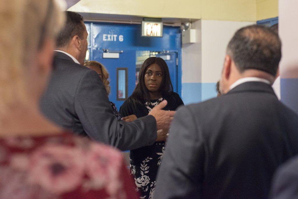 Council Member @Vanessalgibson tours I.S. 229 in her district.