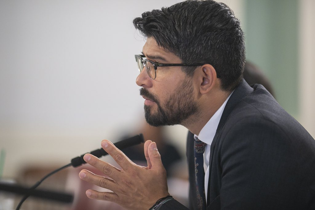 Council Member @cmenchaca holds immigration hearing at City Hall.