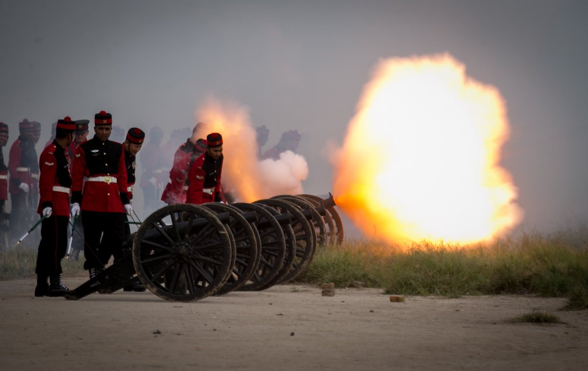 Nepalese Army soldiers fire cannon shots during the grand rehearsal of Fulpati festival at the Army Pavilion in Kathmandu, Nepal on Wednesday, October 02, 2019.