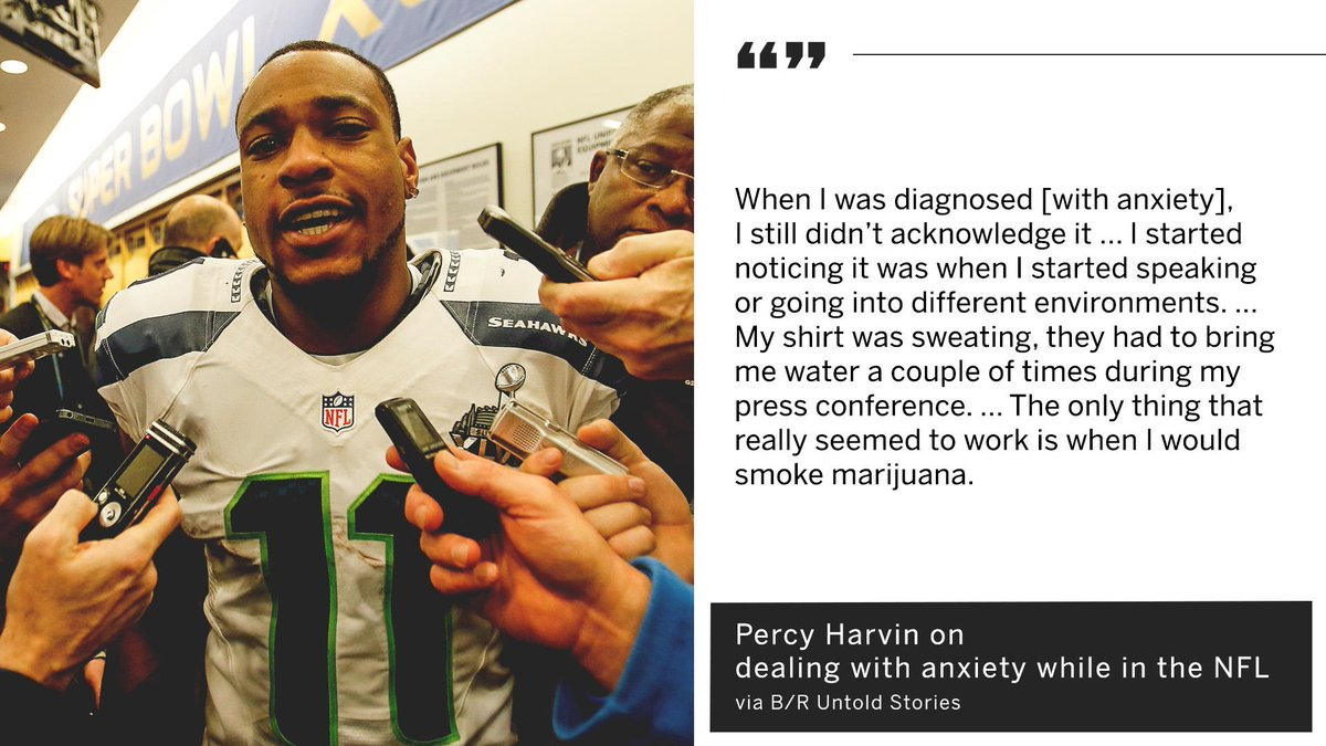 Percy Harvin cites marijuana use being a coping mechanism for his anxiety while playing in the NFL.