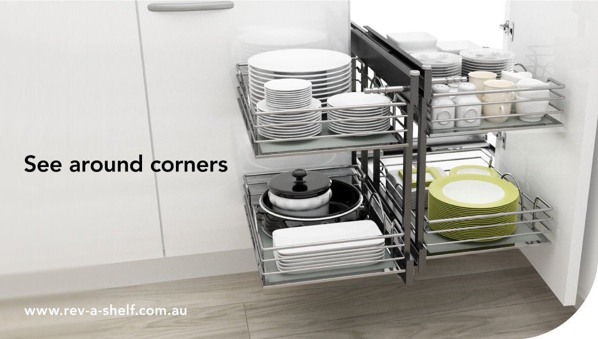 'My valuable kitchen storage is maximised, turning forgotten areas into convenient spaces that are now easy to reach' https://t.co/jjtzPlvTup  See around corners with the Blind Corner Organiser by Rev-A-Shelf