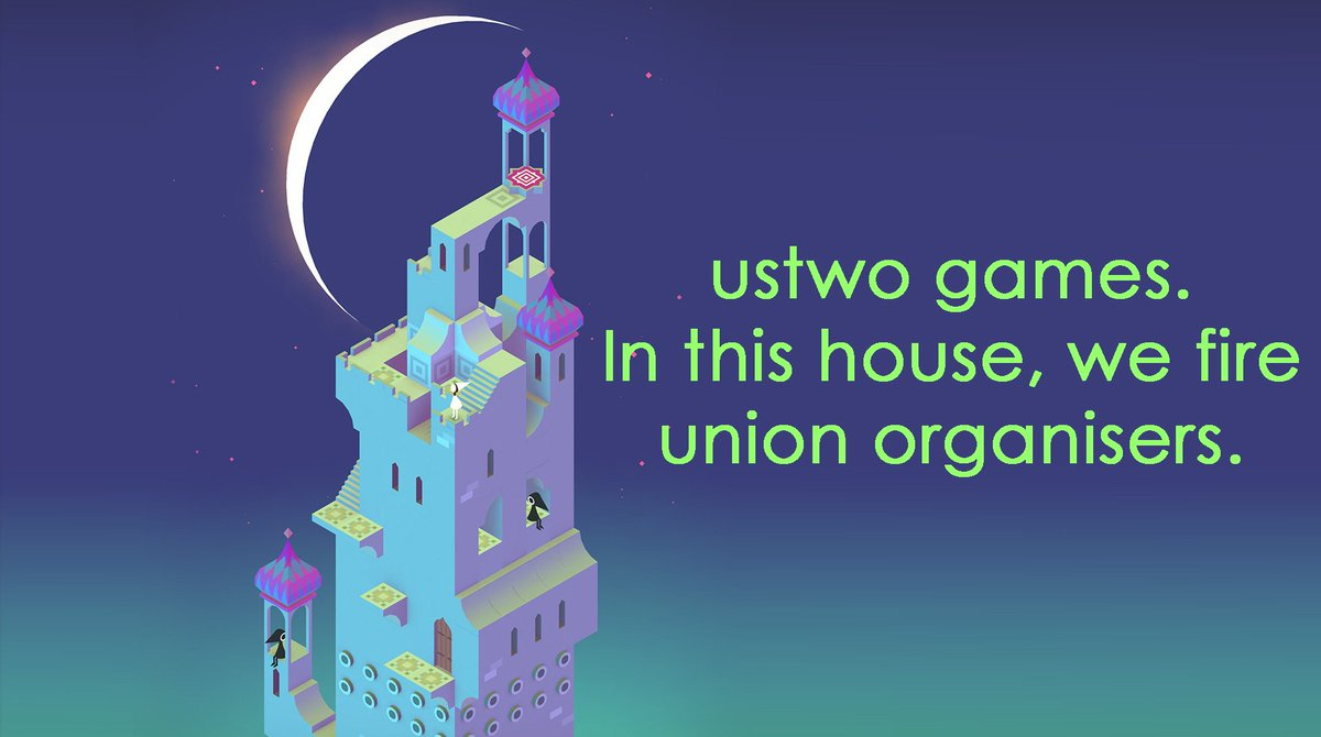 Behind the cute aesthetic, malicious bosses. Devastated to announce that the Chair of @GWU_UK was targeted for union organising & fired by their employer @ustwogames. No, our movement will NOT be bullied! Our fight for rights will NOT be stopped! #NotUs2 gameworkersunite.org/post/union-bus…