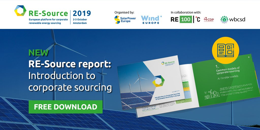 Read the new @RE_Source_EU report launched today at #RESource2019 giving an introduction to the different strategies corporates can follow to procure renewable electricity in Europe: resource-platform.eu/toolkit/