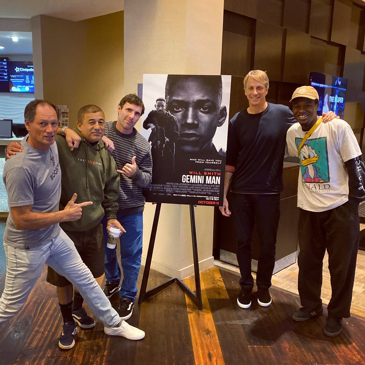 Just saw #GeminiMan with this crew and I'm thankful none of us have to deal with our younger [exact] clones; a great concept and very thought-provoking, opens Oct. 11. @GeminiManMovie