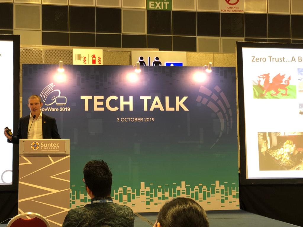 Hywel Morgan our Director ASEAN Systems Engineering discussed the 'Top Considerations for Zero Trust Implementation' at #GovWare2019 Tech Talk. Drop by our booth if you would like to learn more.  #SICW2019 #SymantecAtGovWare2019 https://t.co/xR9Gy5fghu