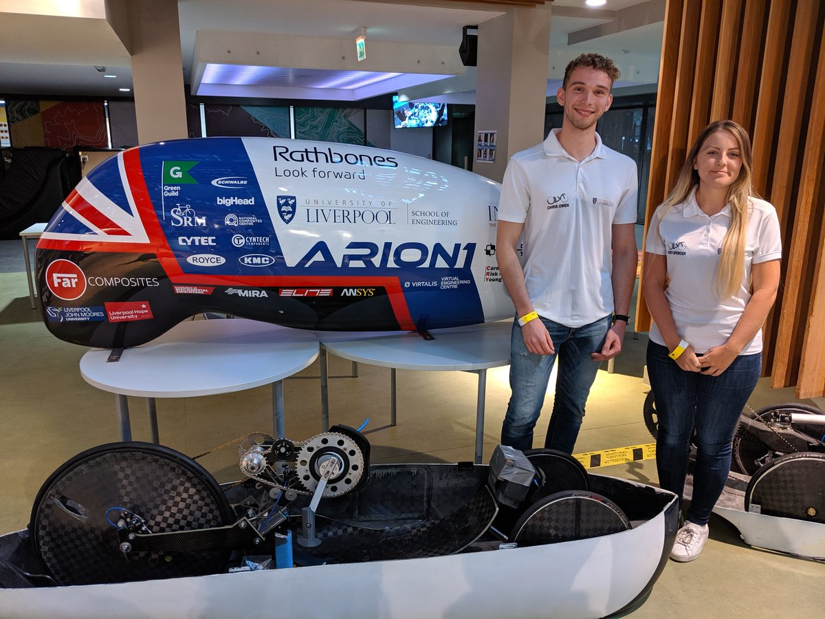 Engineering students Casey Spencer and Chris Owen built this 3 wheeled bike called ARION5. It broke the womens multitrack human powered land speed record with 56.42mph #r4today