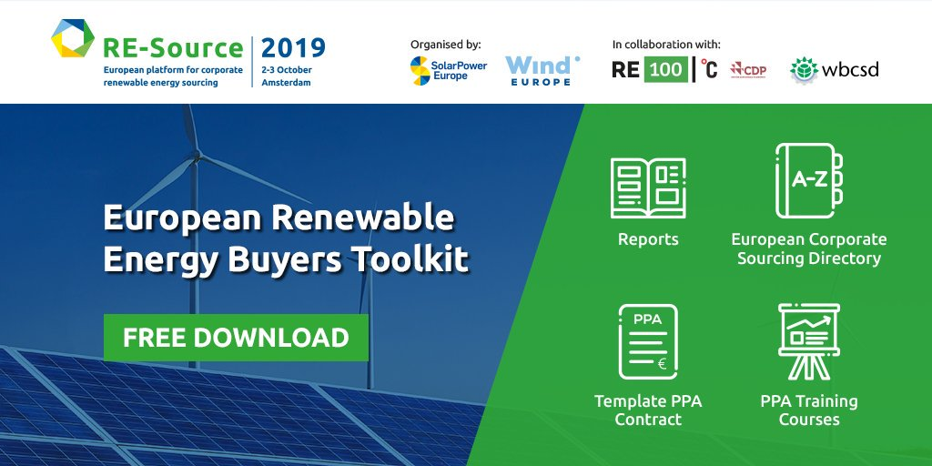 The Renewable Energy Buyer's Toolkit launched by @RE_Source_EU platform aims to provide guidance to businesses and policymakers about corporate sourcing of renewable energy in Europe and ultimately help unlock the market's huge potential bit.do/fbvfP #RESource2019