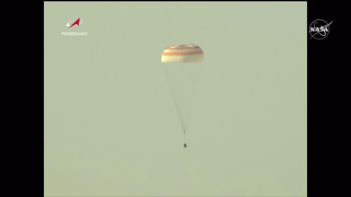 Touchdown! @AstroHague, @Astro_Hazzaa and Alexey Ovchinin are back on Earth after departing the station 3-1/2 hours earlier. The trio parachuted under a clear, blue sky to a landing in Kazakhstan at 6:59am ET. nasa.gov/live