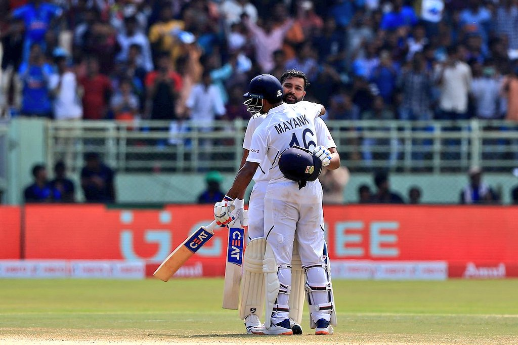 Well played @mayankcricket, well deserved double ton. 🤝🏻 Congratulations to @ImRo45 for your wonderful innings 🤜🏻🤛🏻