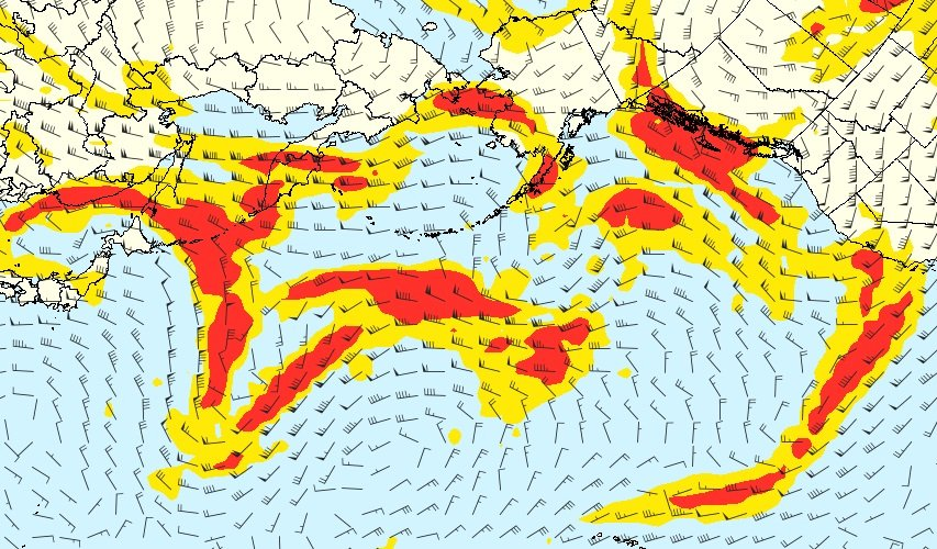 Several regions of #turbulence over the North Pacific today. Buckle up.