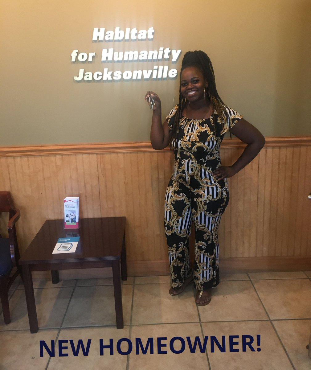 #NewNeighborAlert Sending a BIG welcome and congratulations to Tianta! Tianta spent her #sweatequity hours at our main office, on our construction sites AND at our ReStore locations! Congratulations and welcome to the #HabiJax family!