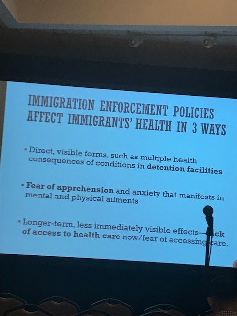 Cecelia Menjivar: #Immigration policies cause direct harm (detention facilities) and also indirect harm (fear of apprehension, anxiety) and long-term effects (lack of access to health care/fear of accessing it.) #pophealth2019 #ICE #ICEraids #policy #populationhealth<br>http://pic.twitter.com/Iq6NUmZhvp