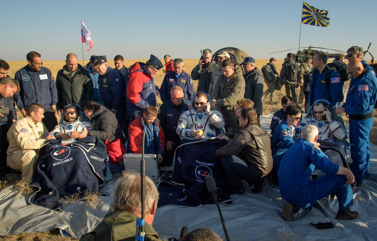 Expedition 60 crewmates Nick Hague and Alexey Ovchinin with visiting astronaut Hazzaa Ali Almansoori of the United Arab Emirates are back on Earth after landing in Kazakhstan today. Credit: NASA/Bill Ingalls