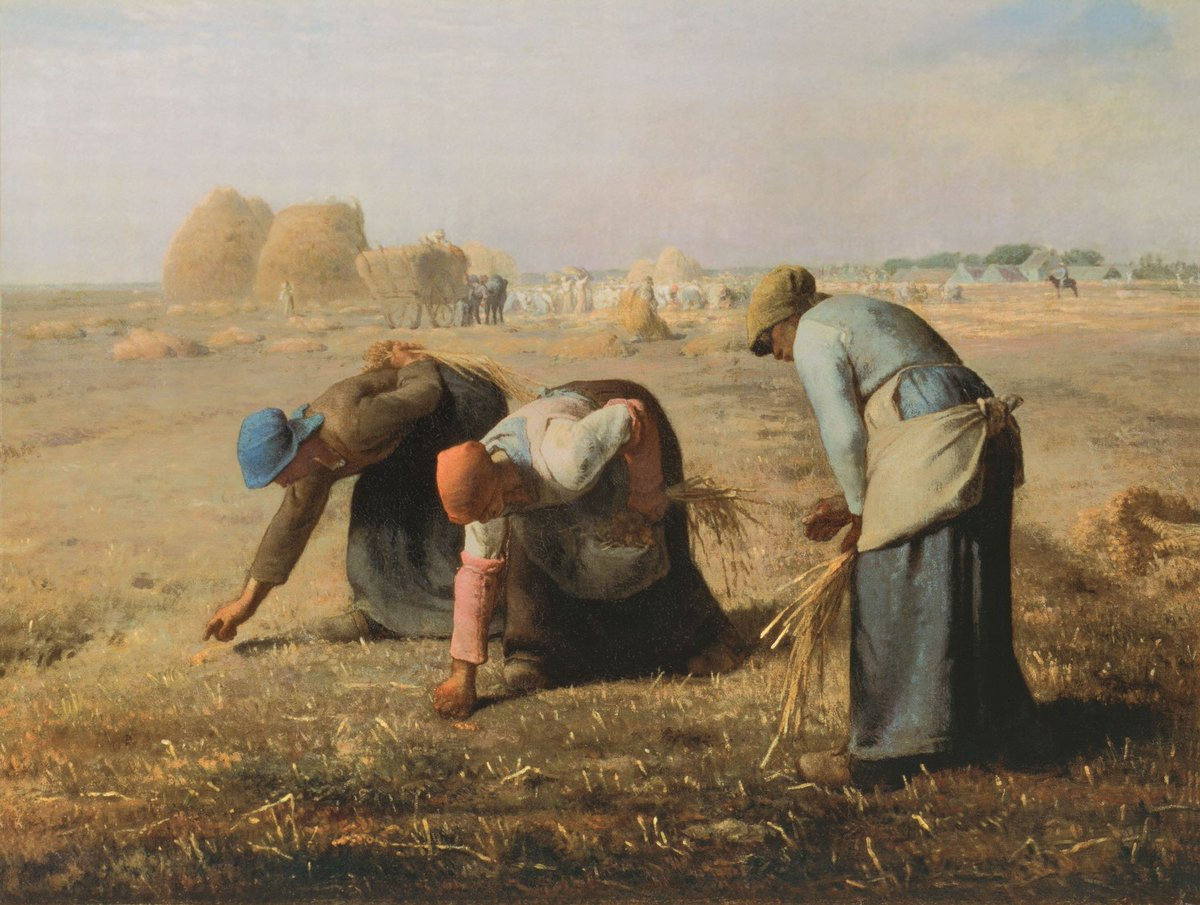 Lots of 19th-century artists painted myths, biblical scenes or battles. But one artist who didn't was Jean-François Millet. He focused on the tough peasant life. The everyday farmer as a hero: this is why he was viewed as a modern artist in his time! The Gleaners @MuseeOrsay