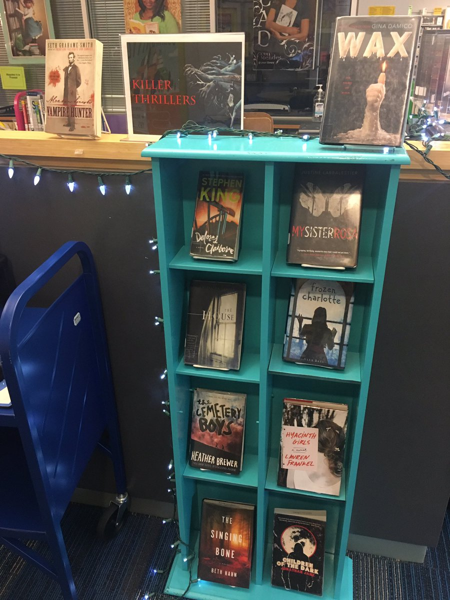 It's getting spooky in here! Check out a killer thriller from our displays! 👻 🎃 <a target='_blank' href='http://search.twitter.com/search?q=YorktownReads'><a target='_blank' href='https://twitter.com/hashtag/YorktownReads?src=hash'>#YorktownReads</a></a> <a target='_blank' href='http://twitter.com/YorktownHS'>@YorktownHS</a> <a target='_blank' href='http://twitter.com/Principal_YHS'>@Principal_YHS</a> <a target='_blank' href='http://twitter.com/YorktownAPs'>@YorktownAPs</a> <a target='_blank' href='https://t.co/BFpILR9FUl'>https://t.co/BFpILR9FUl</a>