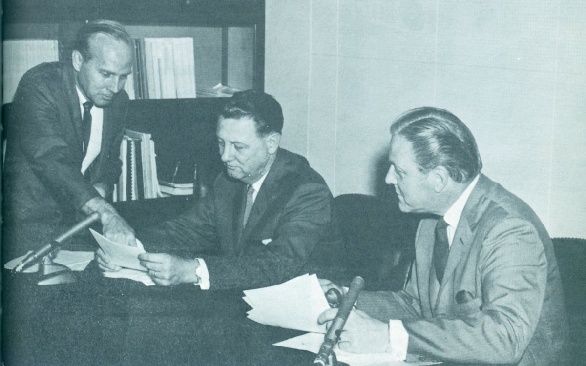 #DYK our #FBI, This Week radio show debuted as FBI-Washington in 1965? This photo shows FBI-Washington program director Harry Nelson discussing research material with FBI executive Cartha DeLoach and announcer Fred Foy. #TBT