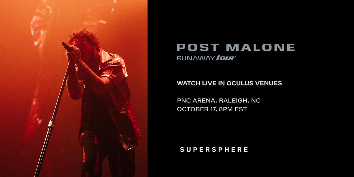 Come party with a rockstar in VR. Exclusive, immersive broadcast of @PostMalone's #RunawayTour headline set is happening October 17, 8PM EST, only in #OculusVenues. Yeah, we made it #vr // ocul.us/PostMalone