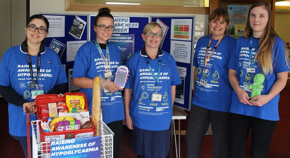 Our Diabetes Nursing Team @dsnjpuh have been visiting wards &have had a stand outside our Chapel to raise awareness of Hypoglycaemia in #HypoAwarenessWeek2019. Today they've been out with our Point Of Care Testing team to highlight what to do when testing patients blood glucose.