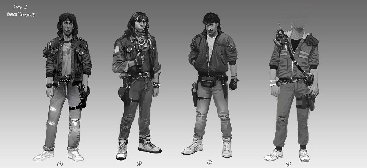 Looking 80s fashionable even when fighting Nazis: here are some early art explorations for the look of the French Resistance! #Wolfenstein