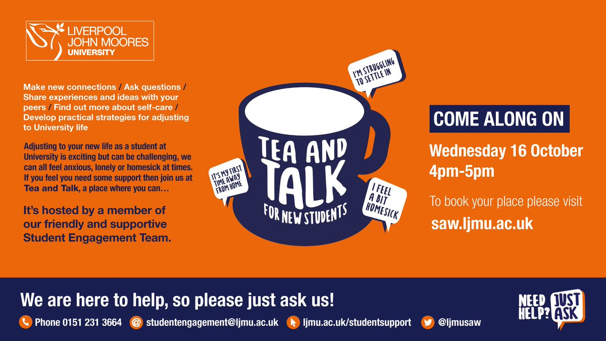 If you're a new LJMU student......come join us at Tea and Talk @LJMUsaw You can register at saw.ljmu.ac.uk with your LJMU username and password. #LJMUFreshers
