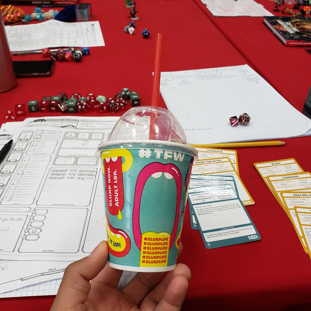 #TFW the game store owner/manager gives out free Slurpees to help beat the heat during our party's decent into Avernus. #Slurplife #DnD<br>http://pic.twitter.com/OV8Ipk7Dcx – à Dice City Games