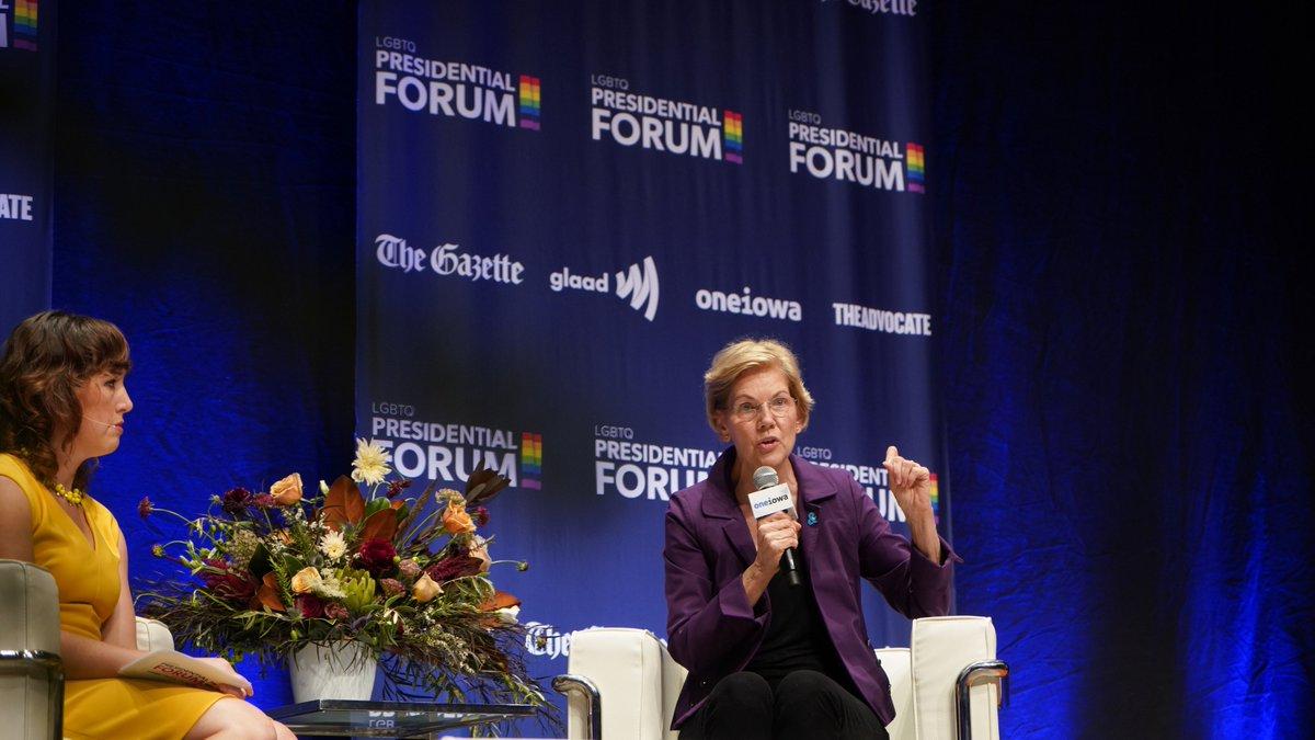 Elizabeth Warren speaks at GLAAD's LGBTQ+ presidential forum.