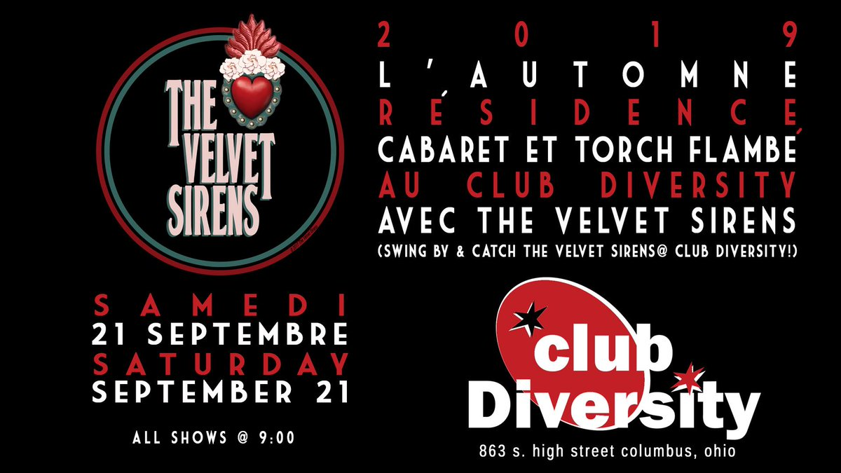 9:00 p.m. THIS VERY EVENING - @thevelvetsirens play Club Diversity in The @BrewerDistrict!!!!!  863 South High Street; Columbus, Ohio  43206!!!!!   https://www. facebook.com/events/4042113 76902453/   …    http:// clubdiversity.com /    <br>http://pic.twitter.com/3UFSp9c0Qc