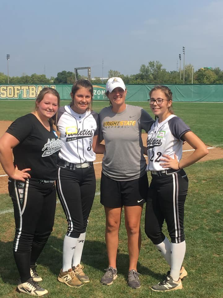 Our pitcher Avery Gottlieb #24 , left fielder Allie Parker #3, and pitcher Lily Sparks #22 are getting things done at the Wright State Softball Camp today. Way to represent So Cal Athletics 16U French! You ladies make us proud everyday 🖤🥎 @WSU_SB