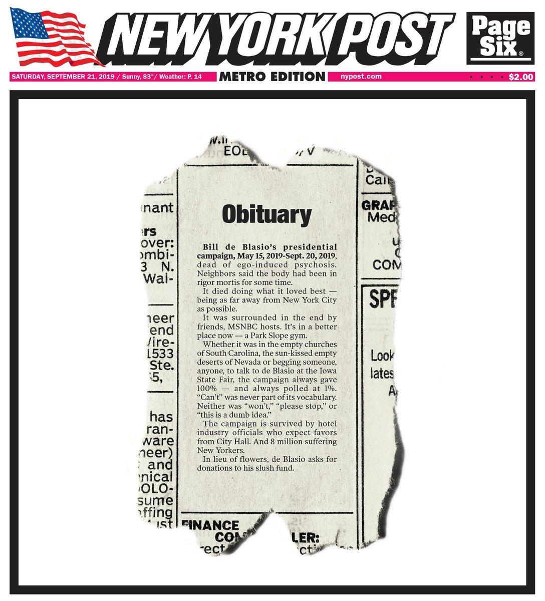 New York Post Declares De Blasio's 2020 Bid 'Dead Of Ego-Induced Psychosis'