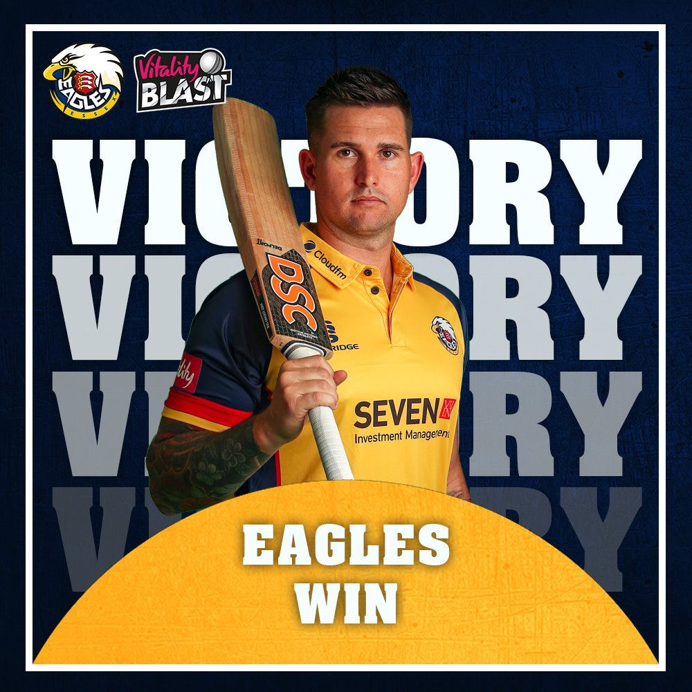 VICTORY! Essex Eagles will appear in their first ever @VitalityBlast Final as they win by 34 runs! #FinalsDay #SoarWithUs 🦅