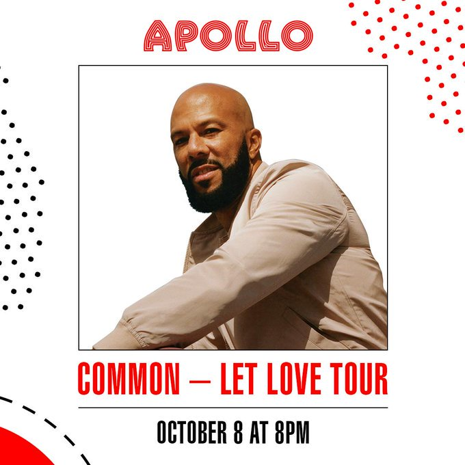 🚨 @Common at the @ApolloTheater! Join us as the Oscar-winning rapper celebrate the release of his second book, Let Love Have the Last Word and his latest studio album, Let Love. Get tickets here: apollotheater.org/event/common-l…