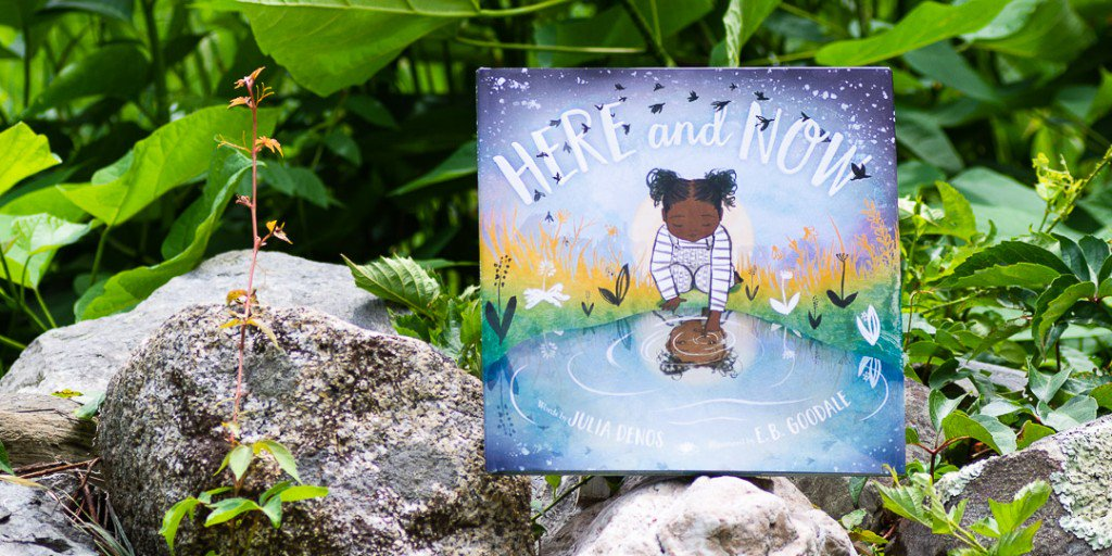 Its a ⭐from @PWKidsBookshelf for HERE AND NOW by @JuliaDraw and @EBGoodale : Meditation meets noticing in this contemplative picture book...A well-considered work about taking in the present moment. - PW, starred review